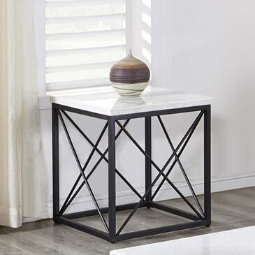 Crystal City Skyler End Table in White, , large