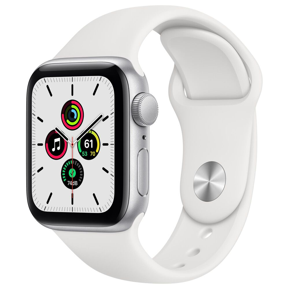 Apple Watch SE GPS, 40mm Silver Aluminum Case with White Sport Band - Regular with AppleCare+, , large