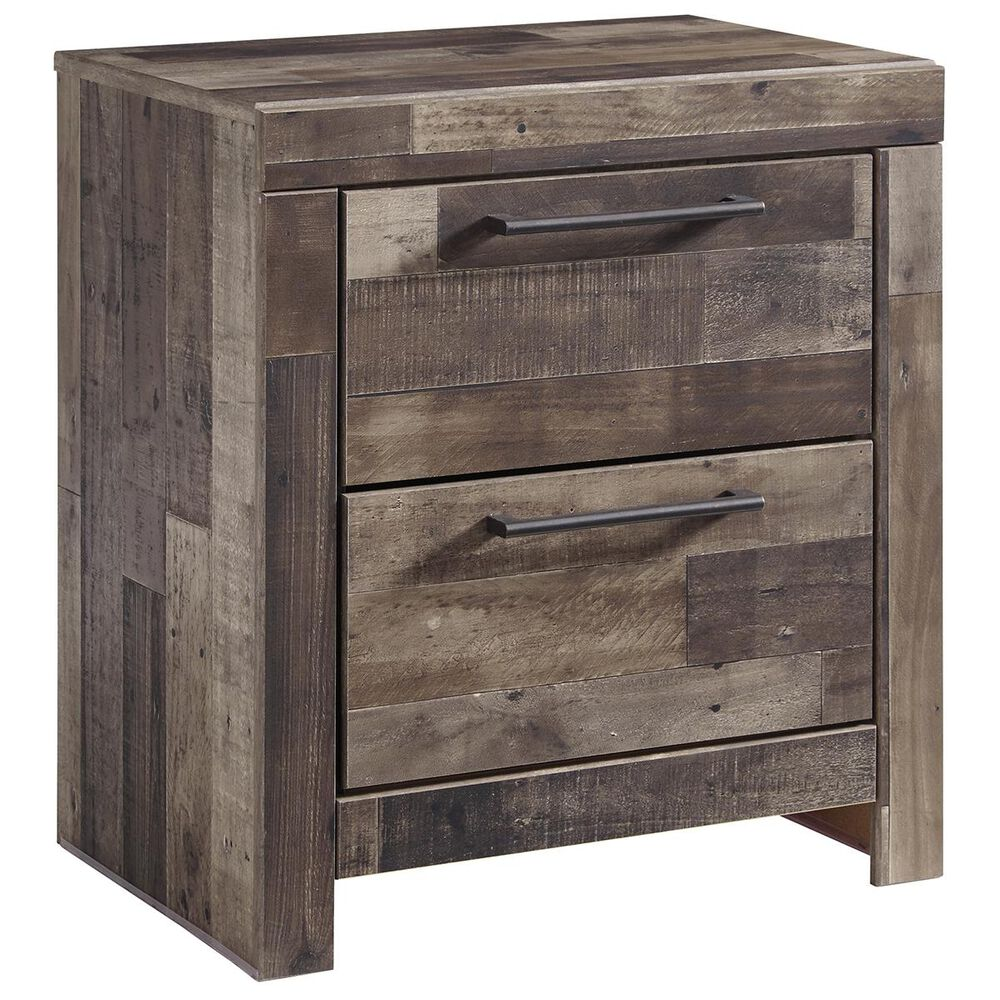 Signature Design by Ashley Derekson 2 Drawer Night Stand in Walnut and Gray, , large