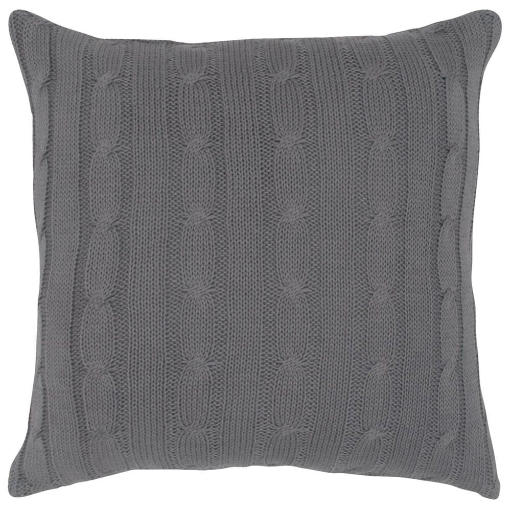 """Rizzy Home 18"""" x 18"""" Pillow Cover in Gray with Buttons, , large"""