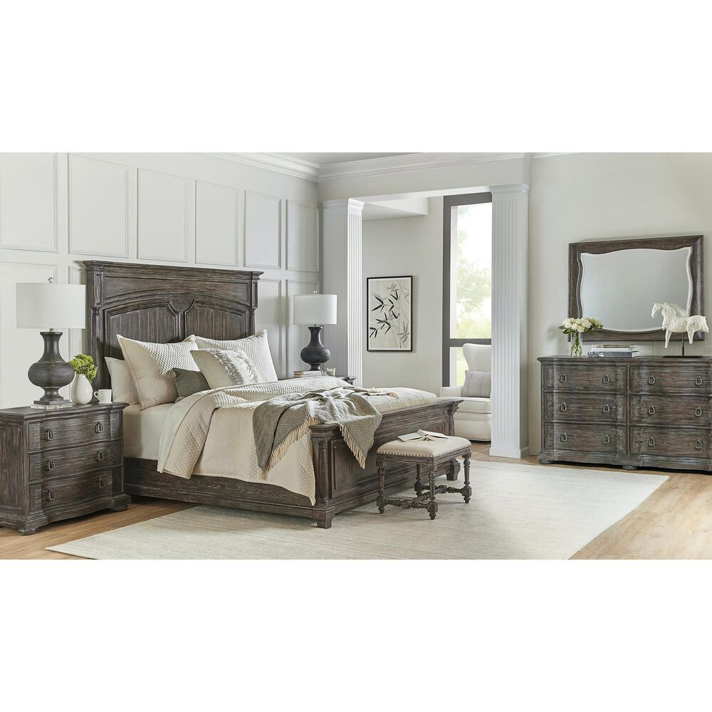 Hooker Furniture Traditions King Bed in Rich Brown and Grey, , large