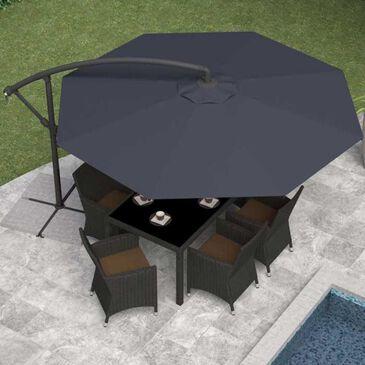CorLiving Offset Patio Umbrella in Black, , large