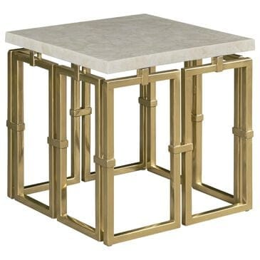 Century Links Chairside Table in Brass and Warm Ivory, , large
