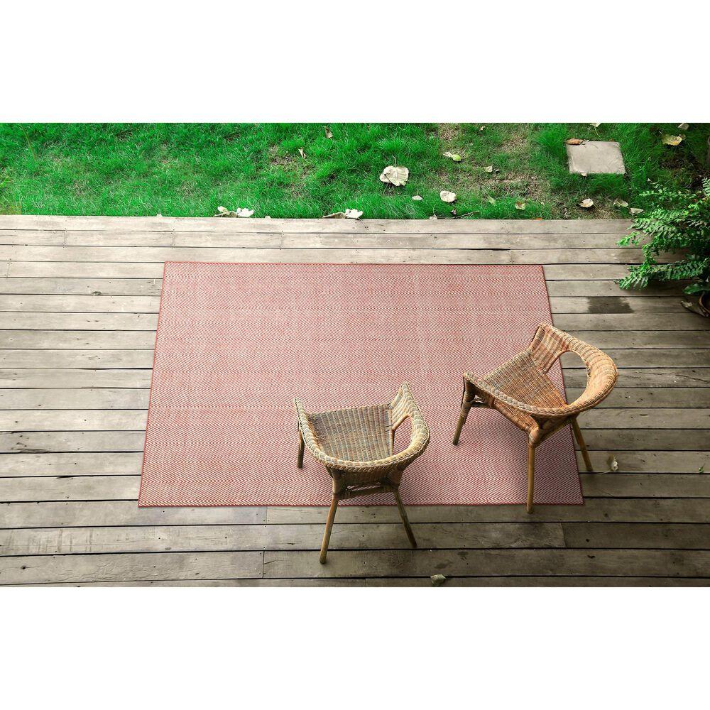 Kaleen Rugs Ziggy ZIG01-99 9' x 12' Coral and White Indoor/Outdoor Area Rug, , large