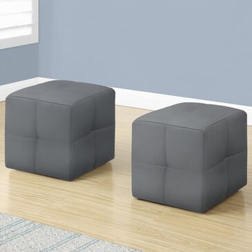 Monarch Specialties Ottoman in Grey (Set of 2), , large