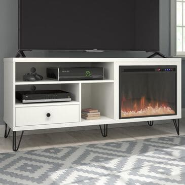 "DHP Ashton 65"" TV Stand with Fireplace in White, , large"