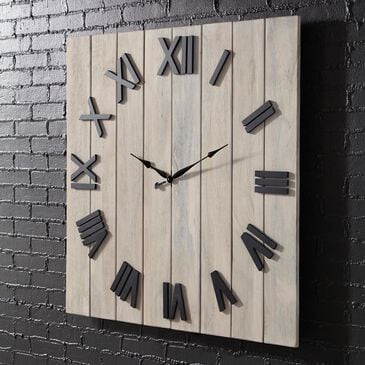 Signature Design by Ashley Bronson Wall Clock in Whitewash and Black, , large