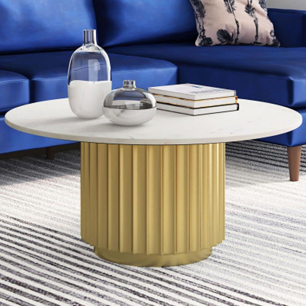 Zuo Modern Justin Coffee Table in White Marble and Gold, , large