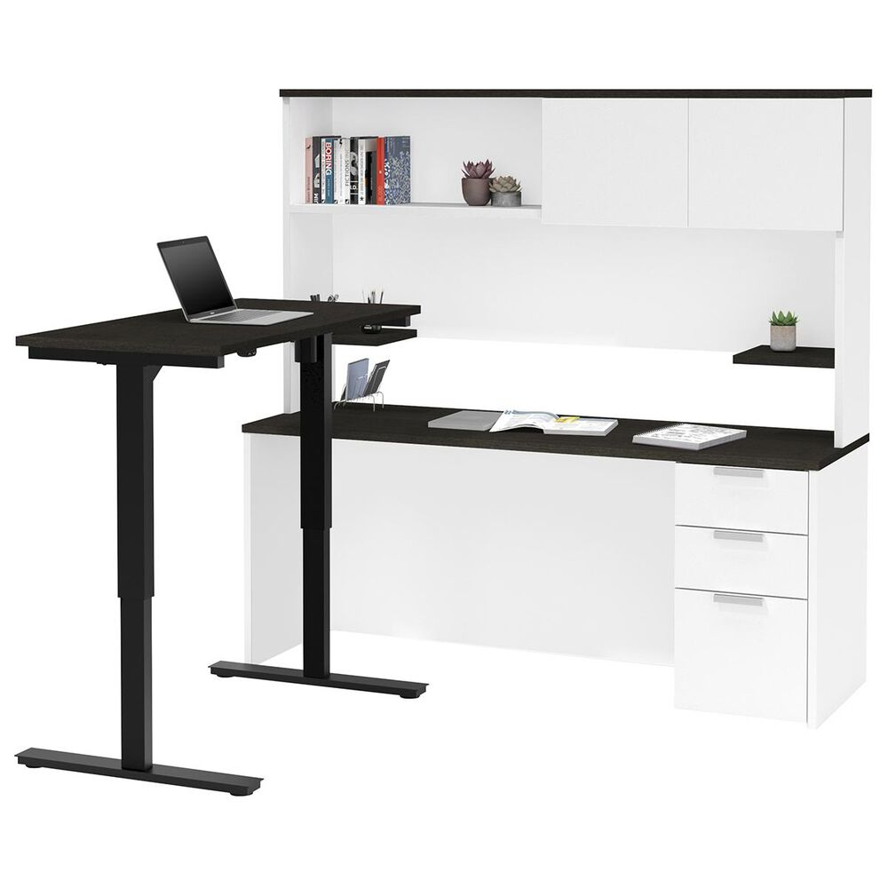 Bestar Pro-Concept Plus Adjustable Desk with Hutch in White and Deep Grey, , large