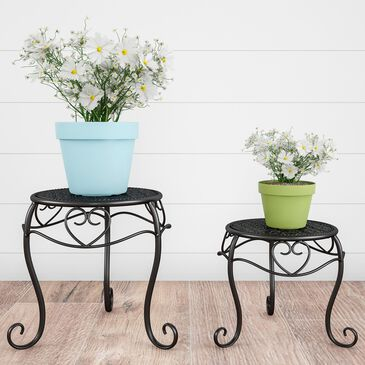 Timberlake Pure Garden Plant Stands in Black (Set of 2), , large