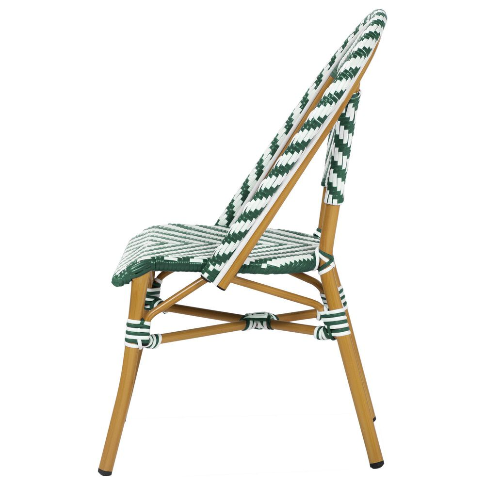 Furniture of America Lam Patio Dining Chair in Green/White, , large