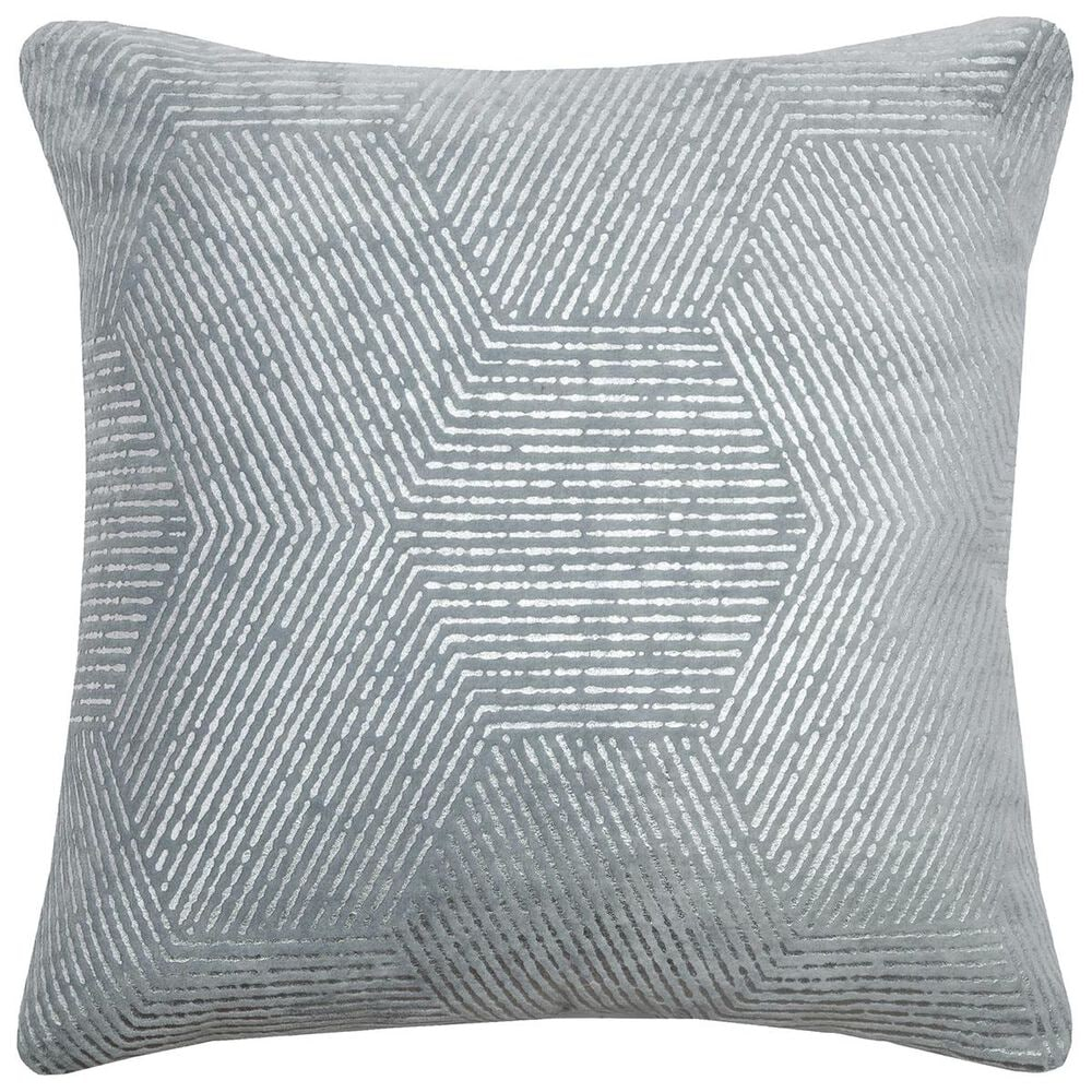 """Rizzy Home 18"""" x 18"""" Pillow Cover in Blue and Silver, , large"""