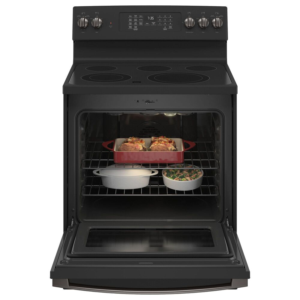 GE Appliances 2-Piece Kitchen Package with 30'' Electric Range and 1.9 Cu. Ft. Microwave Oven in Black Slate, , large