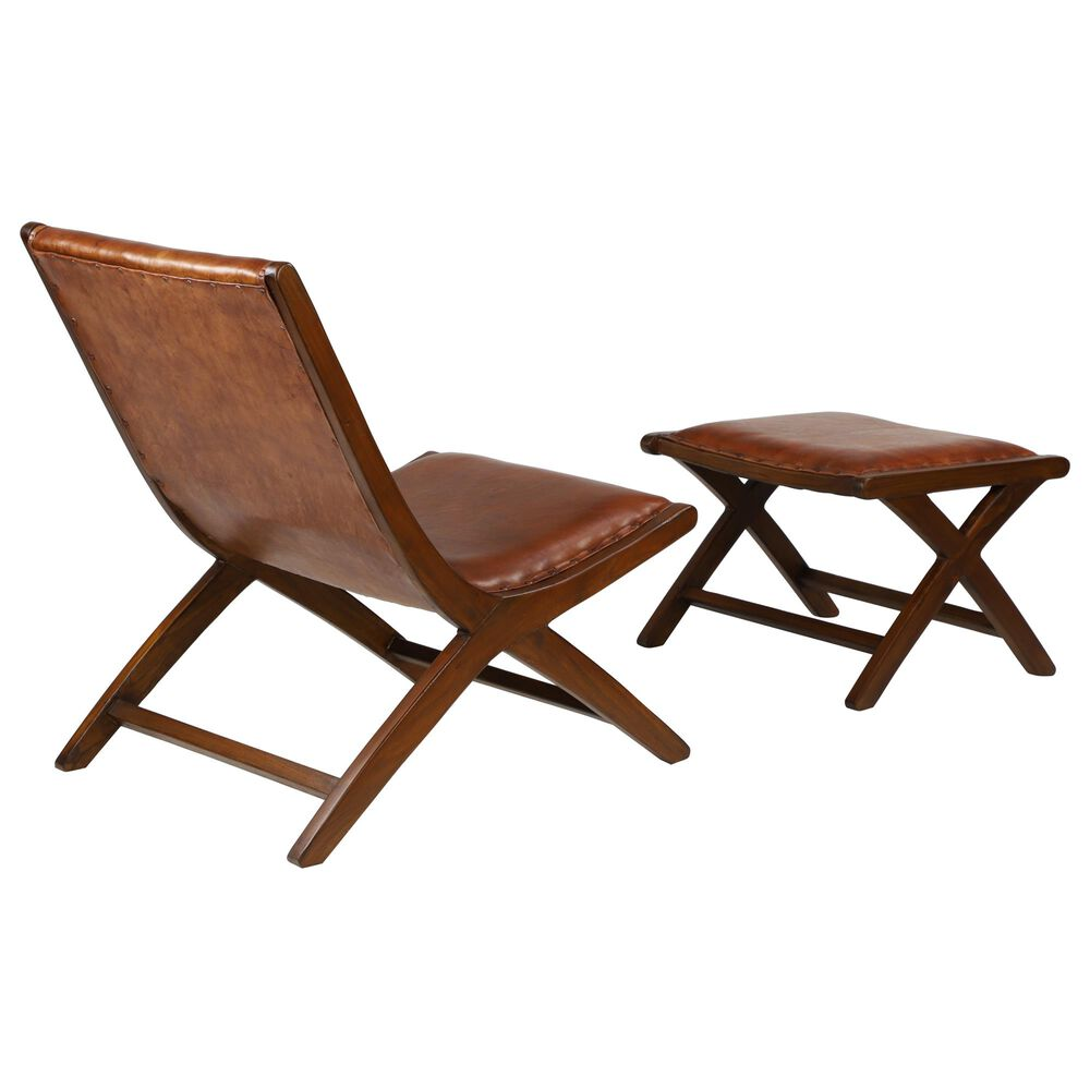 Maple and Jade Chair and Ottoman in Brown Leather, , large