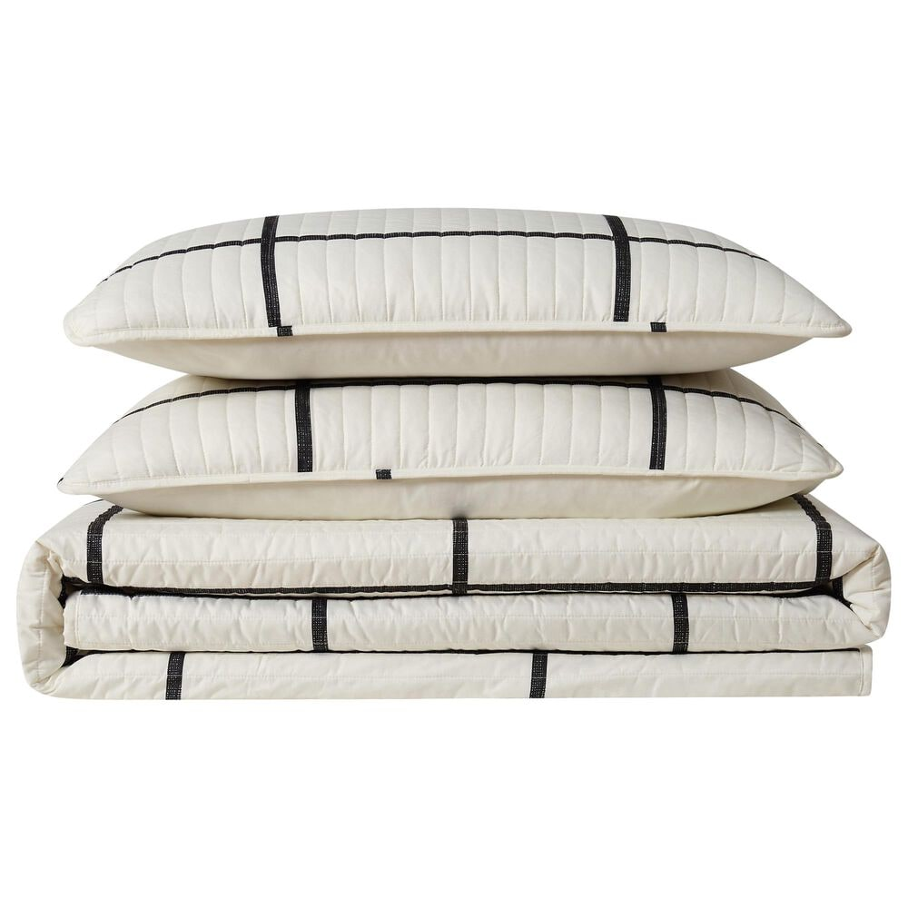 Pem America Truly Soft Windowpane 2-Piece Twin XL Quilt Set in Ivory and Black, , large
