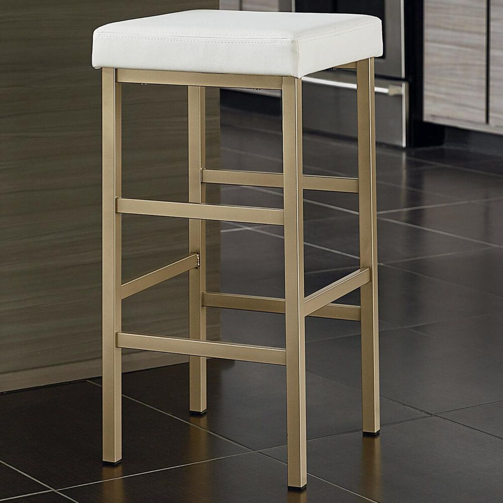 """OSP Home Metro 30"""" Backless Stool with White Seat in Gold, , large"""