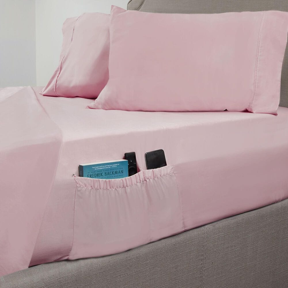 Elite Home Products 310 Thread Count Queen Organic Cotton Sheet Set in Blush, , large