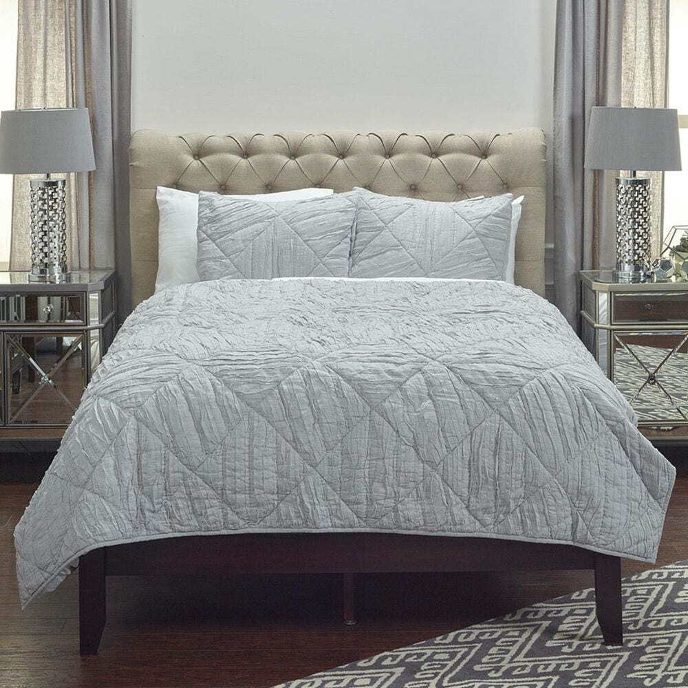 """Rizzy Home Stirling 20"""" x 26"""" Standard Sham in Gray, , large"""