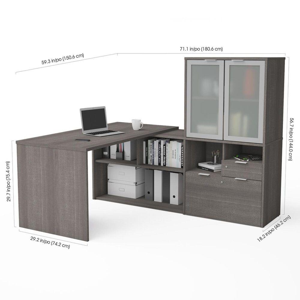 Bestar i3 Plus L-Desk with Door Hutch in Bark Gray, , large