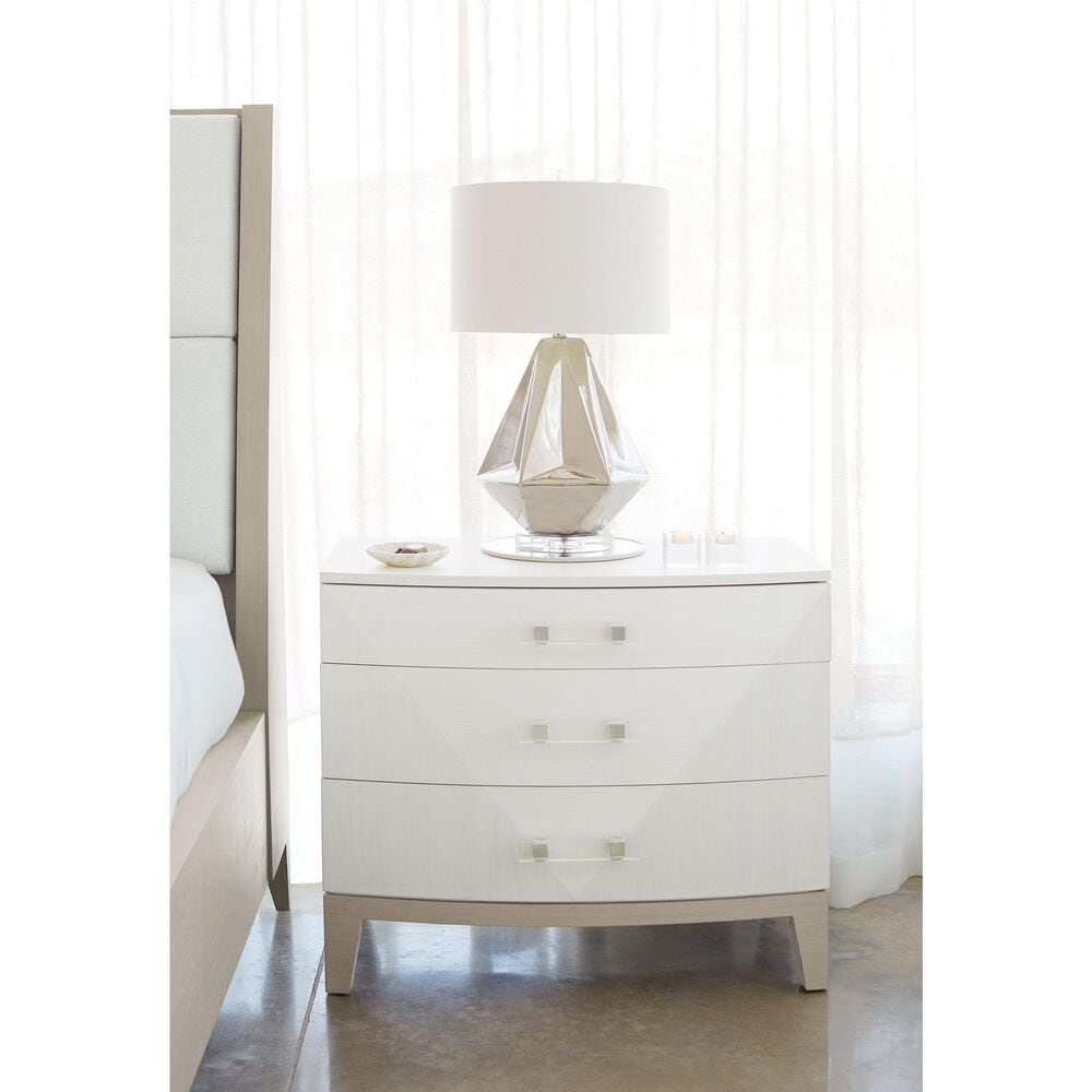 Bernhardt Axiom 3 Drawer Nightstand in Linear White, , large