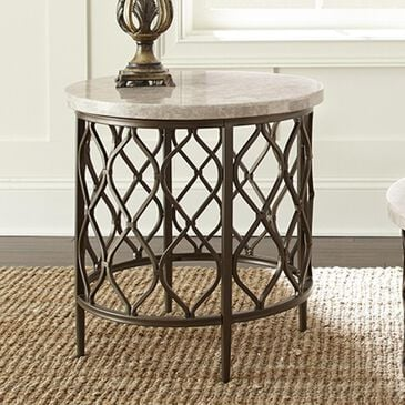 at HOME Roland End Table in White Stone and Bronze, , large