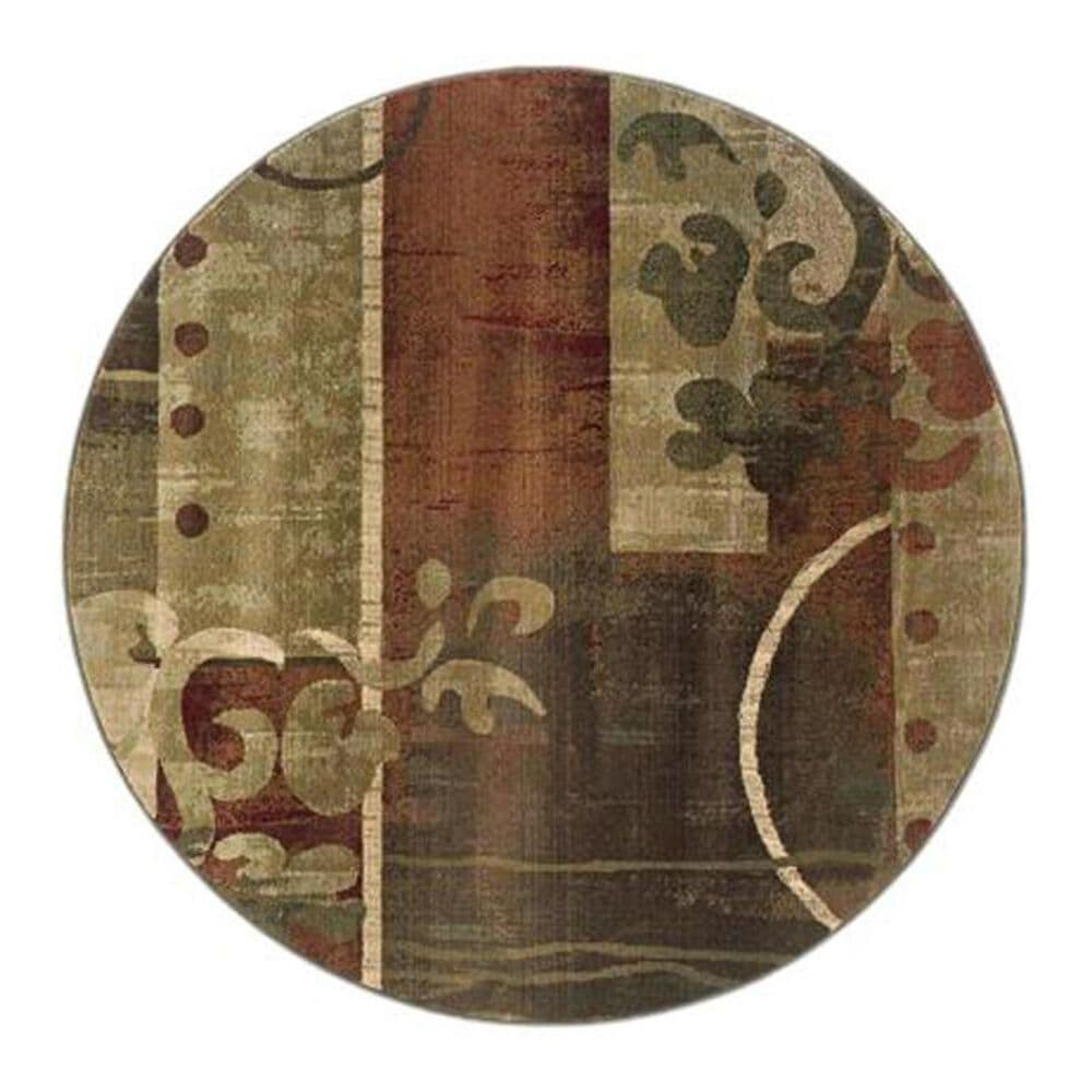 """Oriental Weavers Generations 8007A 6"""" Round Green Scatter Rug, , large"""