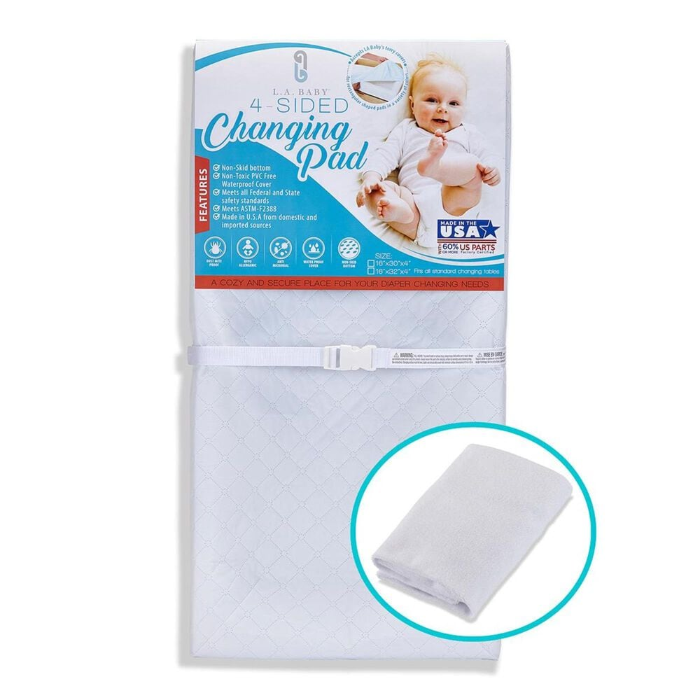 """LA Baby 30"""" 4-Sided Changing Pad/Terry Cover in White, , large"""