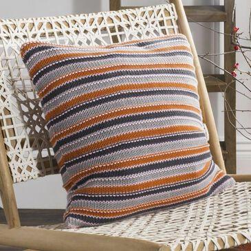 Safavieh Candy Stripe Knit Pillow in Gray/Orange/Pink, , large