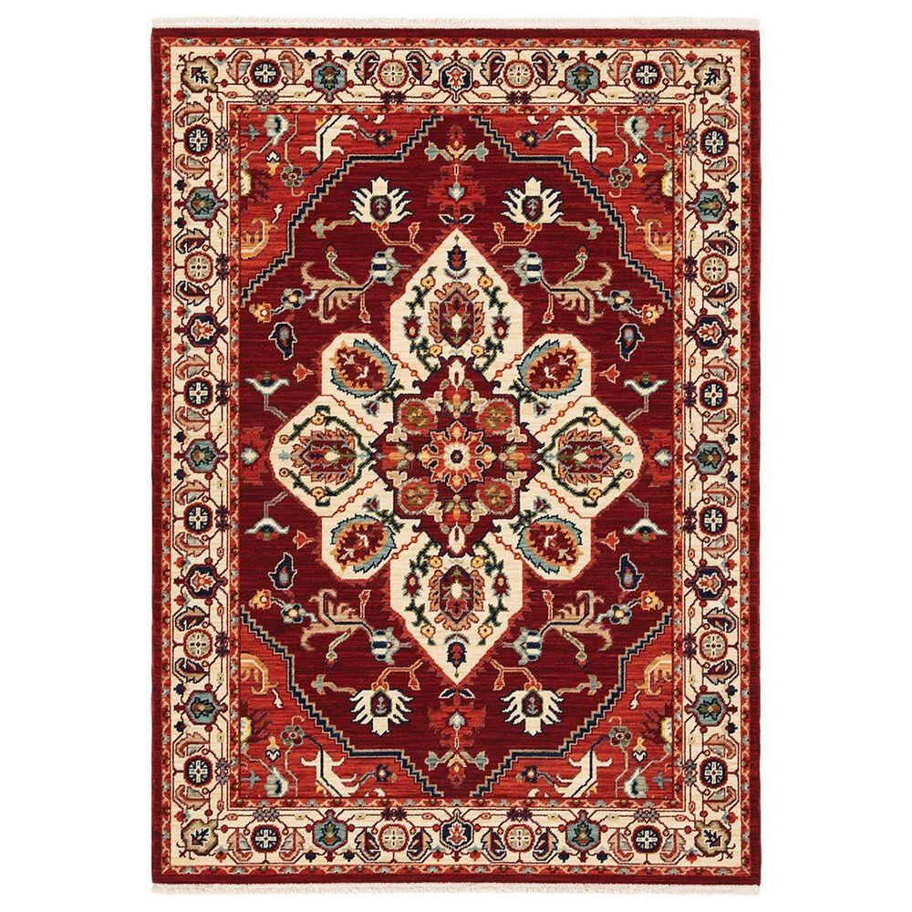 Oriental Weavers Lilihan Medallion 5502C 2' x 6' Red and Ivory Scatter Rug, , large
