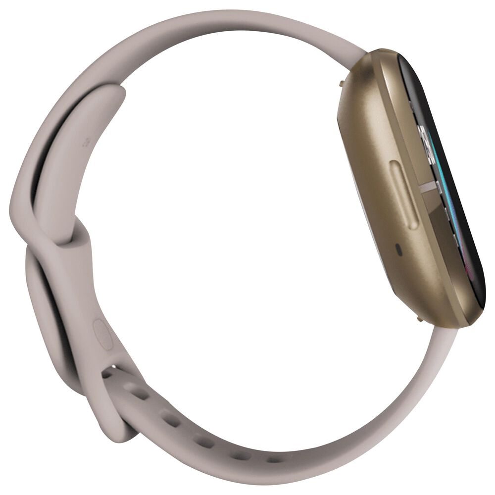 Fitbit Sense Fitness Smartwatch with Lunar White Band in Soft Gold, , large