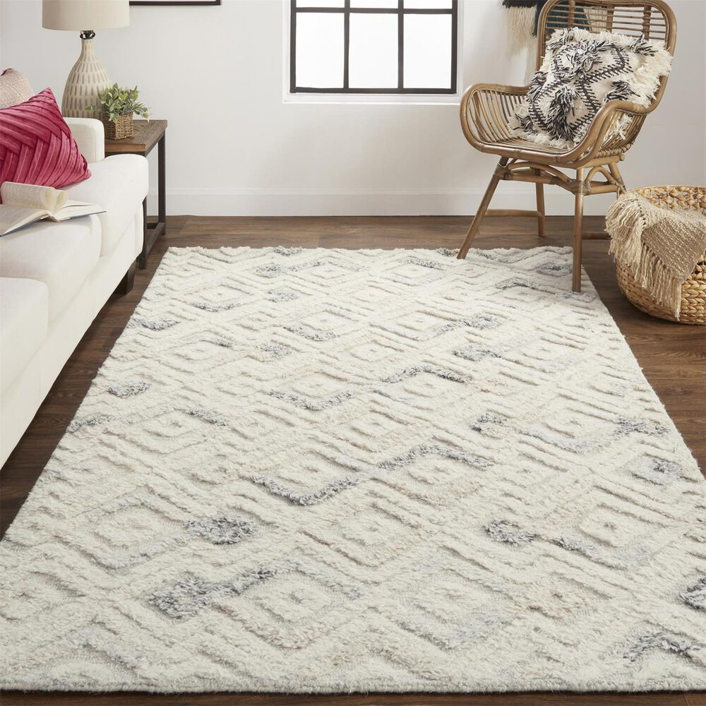 Feizy Rugs Anica 8004F 8' x 10' Ivory and Blue Area Rug, , large
