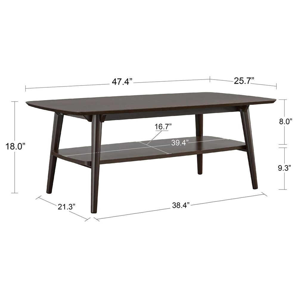Novogratz Brittany Coffee Table in Walnut, , large