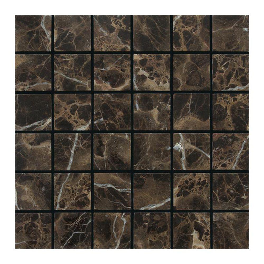 "Dal-Tile 2"" x 2"" Tumbled Mosaic Tile in Emperador Dark, , large"