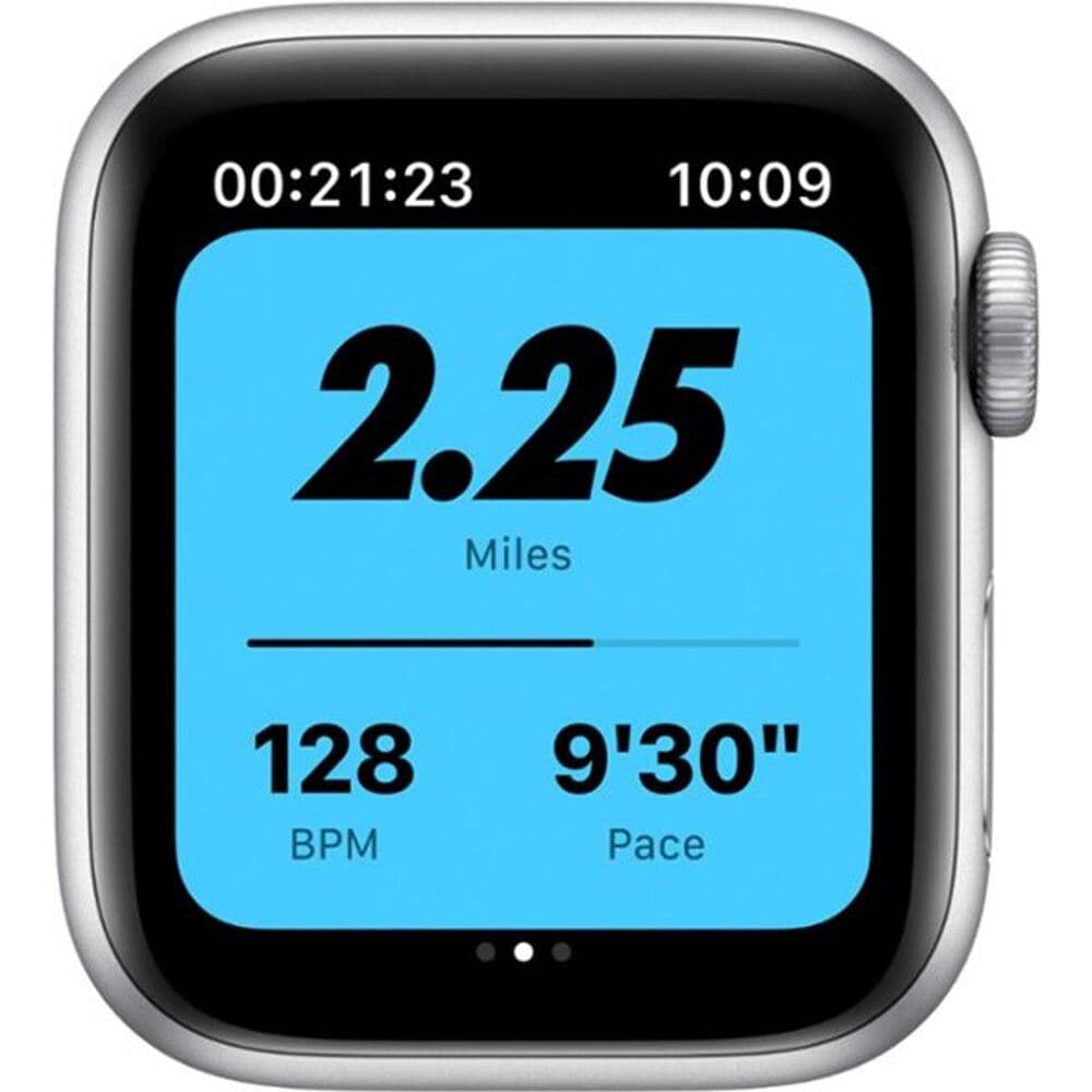Apple Watch Nike Series 6 GPS + Cellular, 40mm (Latest Model) Silver Aluminum Case with Pure Platinum/Black Nike Sport Band - Regular, , large
