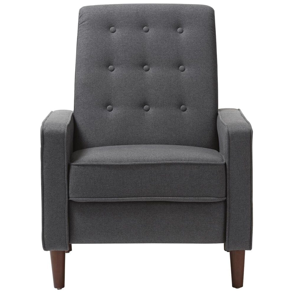 Baxton Studio Mathias Upholstered Push Back Lounge Chair in Grey, , large