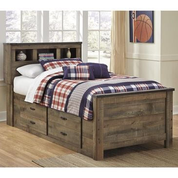Signature Design by Ashley Trinell Twin Bookcase Bed with Storage in Brown, , large