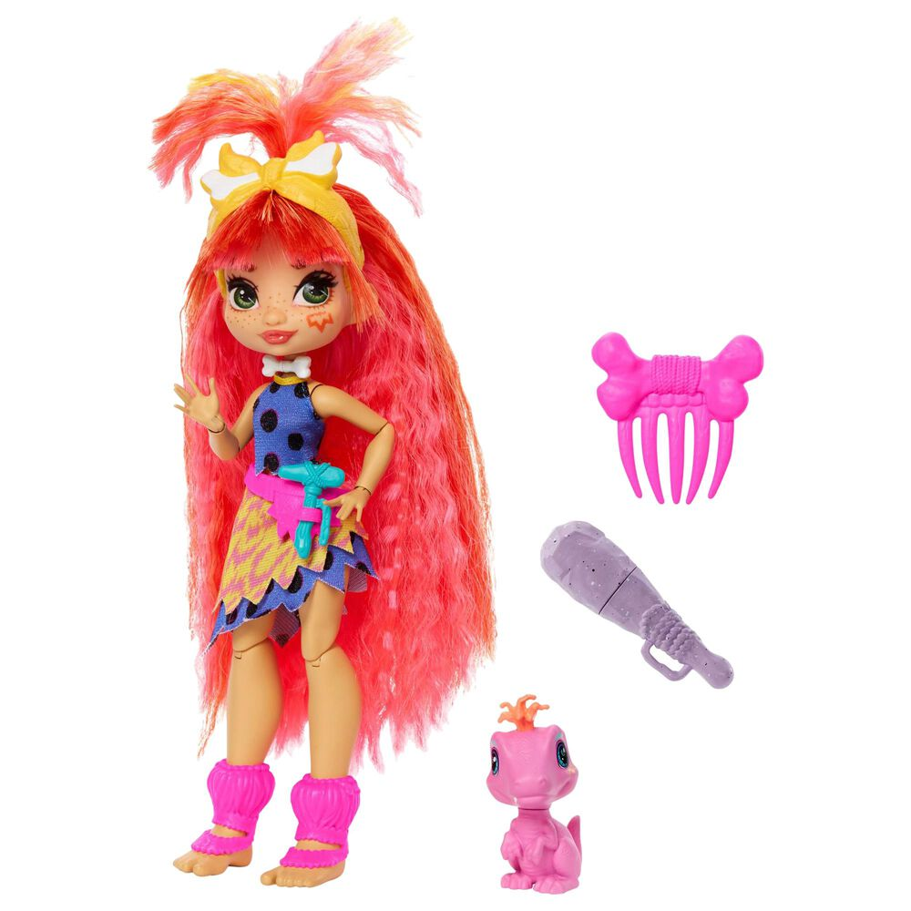 Cave Club Emberly Doll Prehistoric Fashion Doll with Dinosaur Pet, , large