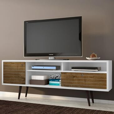 """Dayton Liberty 70.86"""" TV Stand in White and Rustic Brown, , large"""