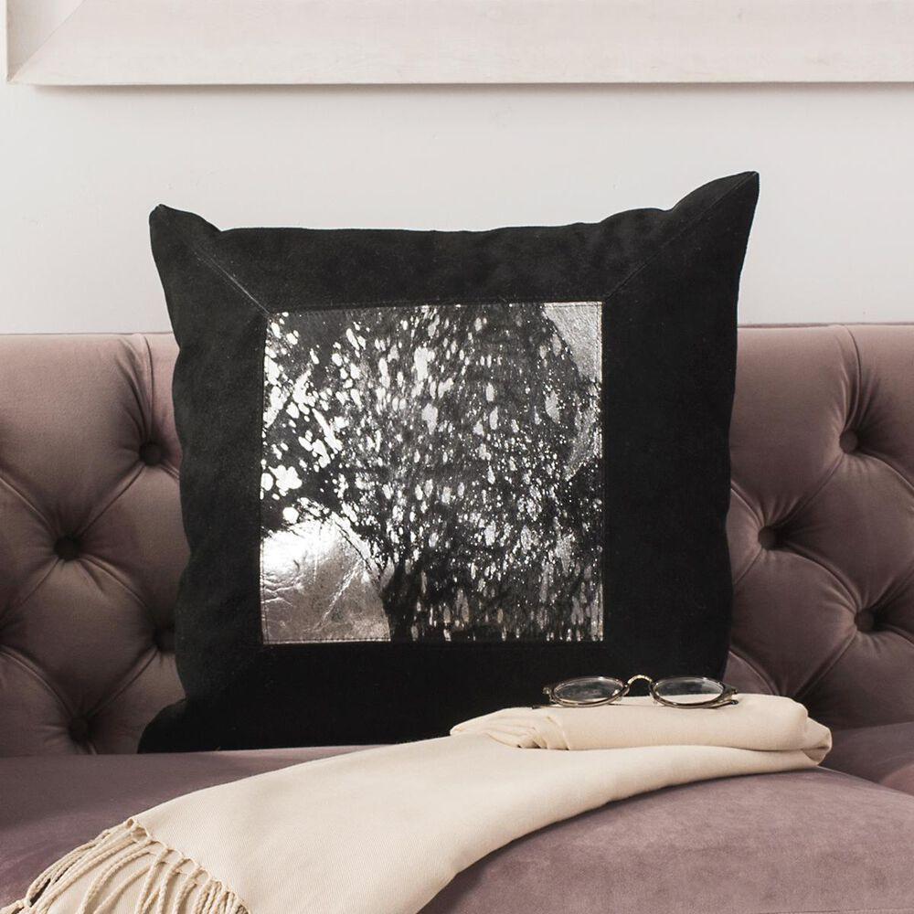 "Safavieh Sonoma 20"" Metallic Cowhide Pillow in Black/Silver, , large"