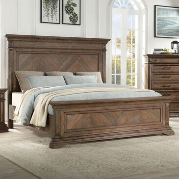 New Heritage Design Mar Vista Queen Bed in Brushed Walnut, , large