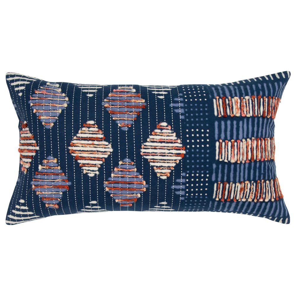 """Rizzy Home Geometric 14"""" x 26"""" Pillow in Indigo, , large"""