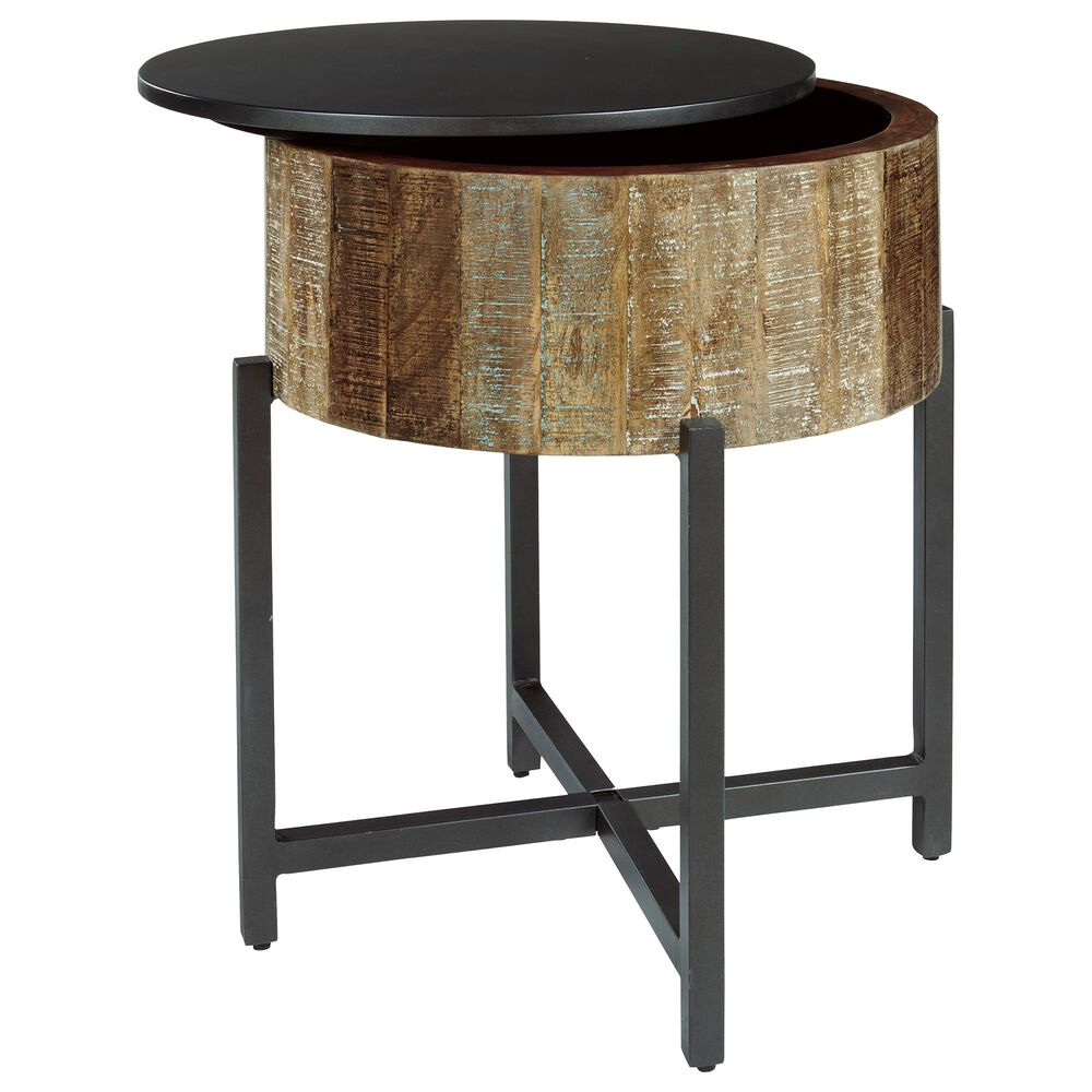 Signature Design by Ashley Nashbryn Round End Table in Multicolor Wood and Gunmetal, , large