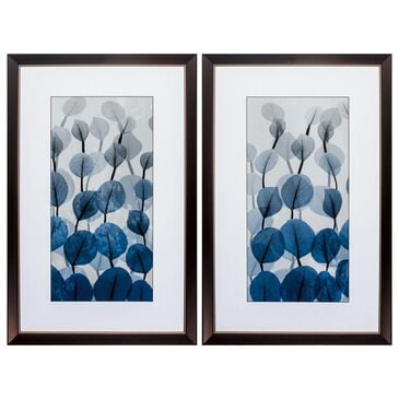 """Propac """"Blue Leaves"""" Wall Art in Blue (Set of 2), , large"""