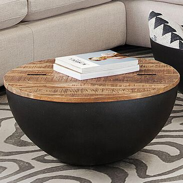 37B Salem Round Storage Cocktail in Natural and Black, , large