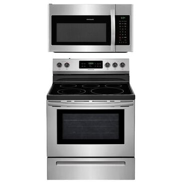 """Frigidaire 30"""" Smoothtop Electric Range and 1.8 Cu. Ft. Over The Range Microwave Oven Kitchen Pair in Stainless Steel , , large"""