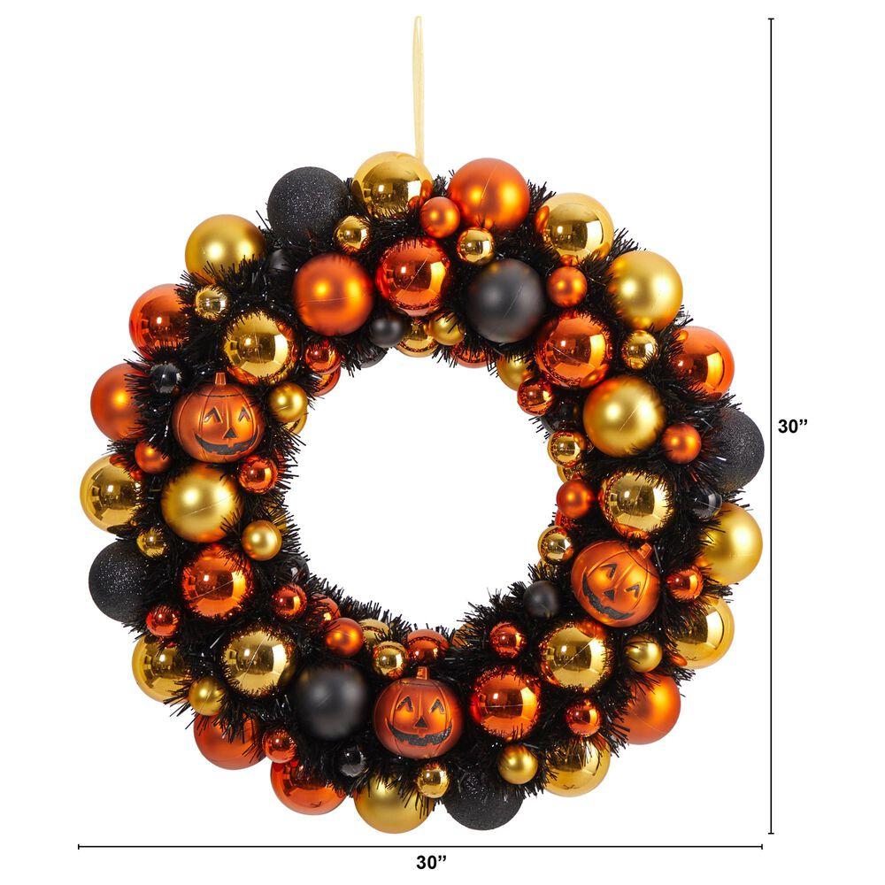 Nearly Natural Inc 30in. Halloween Shatterproof Jack-o'-lantern Pumpkin Ornament Wreath, , large