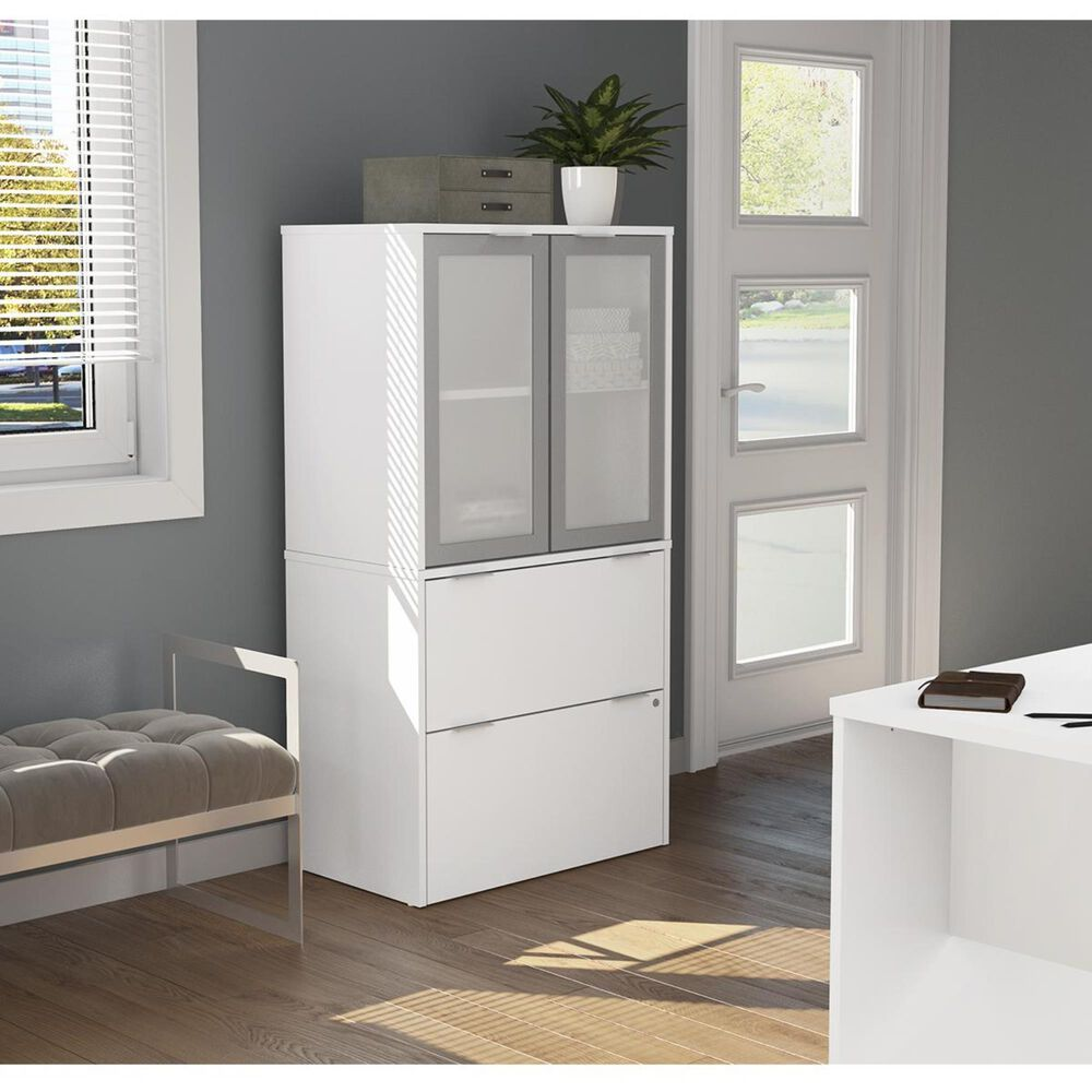 Bestar i3 Plus Lateral File with Cabinet in White, , large