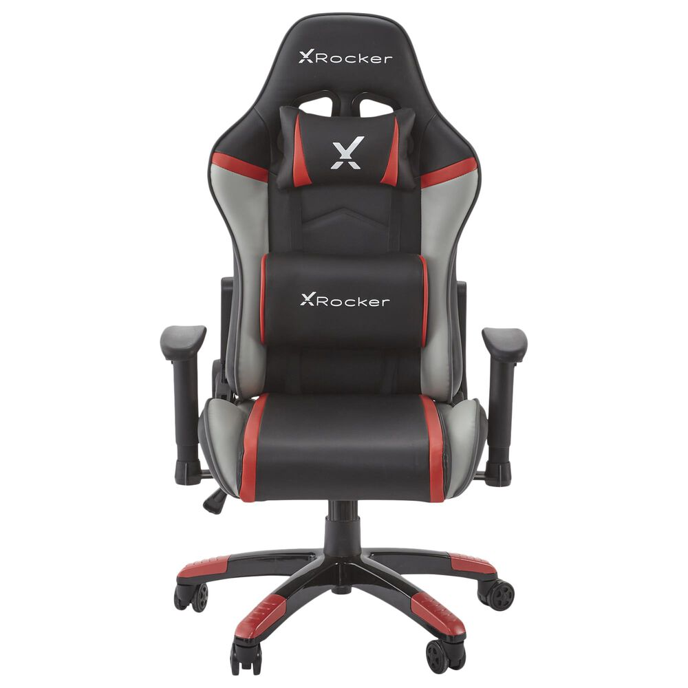 X-Rocker Agility Junior PC Gaming Chair / Red Gray and Black / 2D Arms / No Audio, , large