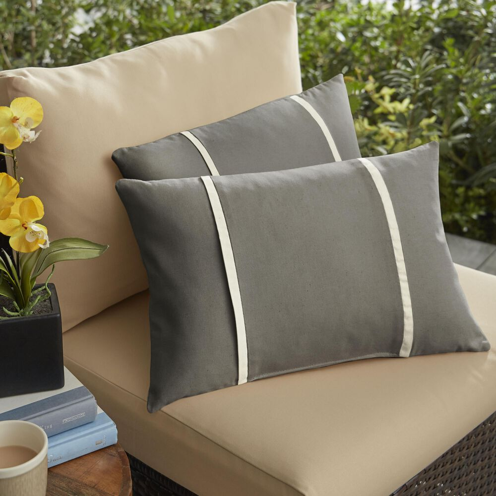 """Sorra Home Sunbrella 12"""" x 24"""" Pillow in Canvas Charcoal (Set of 2), , large"""