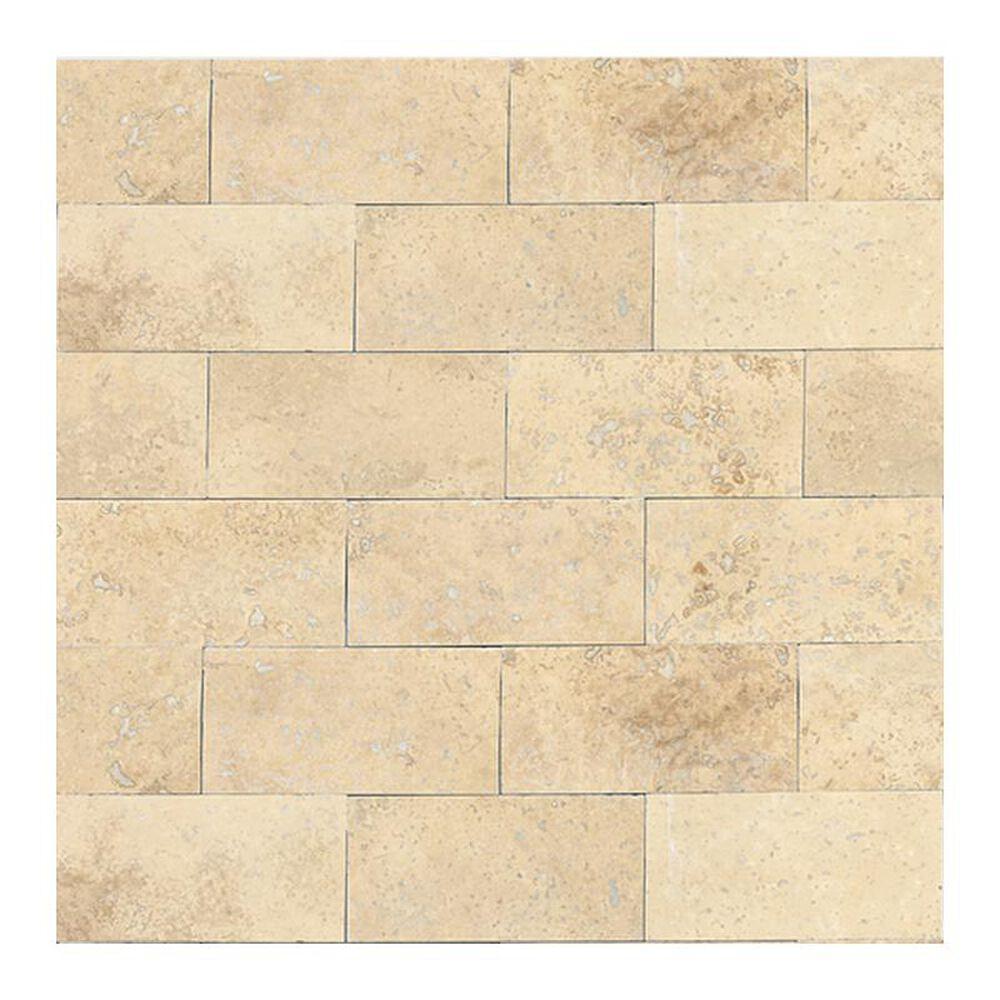 "Dal-Tile Travertine 3"" x 6"" Polished Stone Tile in Mediterranean Ivory, , large"